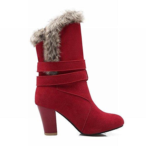 Carolbar Vrouwen Multi Gespen Faux Fur Fashion Warm Hoge Hak Winter Jurk Laarzen Rood