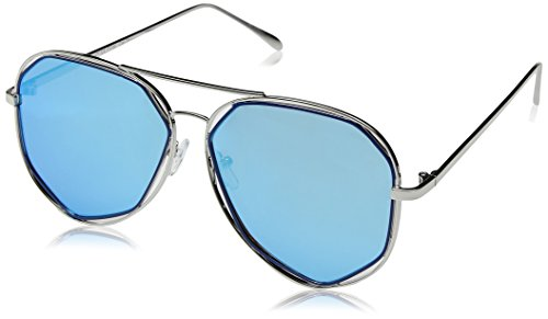 Blue Diamond Mirror Lens (A.J. Morgan Diamond Bar Aviator Sunglasses, Silver/Blue Mirror, 56 mm)