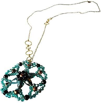 Chic-Net Cristales facetados Cadena de latón Turquesa Flor Colgante de Cristal Negro Brillo de Oro de joyería de níquel Libre