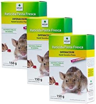 150 grs Pack de 3 Unidades Sipcam Jard/ín Raticida para Exteriores contra Ratas y Ratones Rojo Cebo Fresco anticoagulante de acci/ón r/ápida 10 x 15 gr
