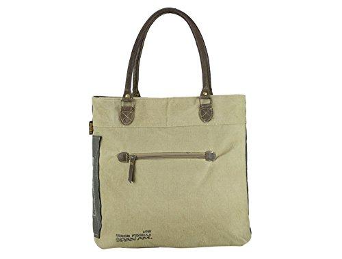 Sunsa Vintage Tasche Schultertasche Shopper aus Canvas und Leder