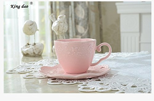6' China Saucer - Bone China Ceramic Cake Plates Stand Porcelain Cheese Service Plates Cupcake Stand Xmas Gift Party Porcelain Tea Coffee Cup (Pink coffee cup set)