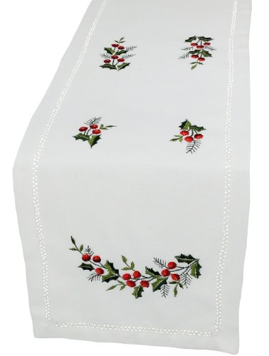 - Xia Home Fashions Holly Berry Embroidered Hemstitch Christmas Table Runner, 12-Inch by 48-Inch