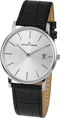 Jacques Lemans Men's Classic Vienna 38mm Black Leather Band Steel Case Quartz Analog Watch 1-1848A