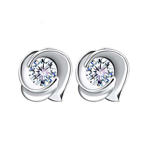 The November Nocturne Vintage Rose Flower Shape Silver Plated Diamond Studded Simple Stud Earring (Selling Ornaments Hallmark)