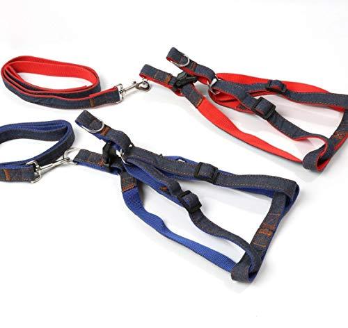 TLMY Pet Leash Rope Pet Denim Chest Strap Traction Dog Chain, Denim + Red, Denim + bluee Pet Chain (color   Denim color+bluee, Size   S)