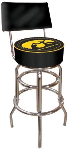 NCAA University of Iowa Padded Swivel Bar Stool with Back