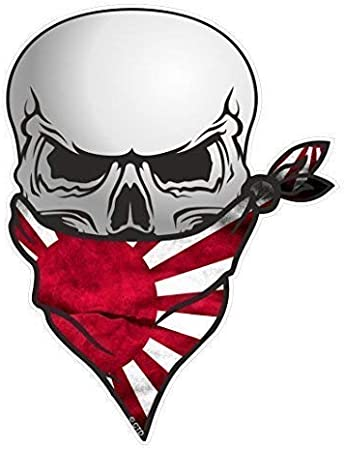 Gothic Biker Piraten Totenkopf Mit Gesicht Bandana Und Japanisch Rising Sun Flagge Motiv Vinyl Aufkleber Bike Fahrrad Auto Aufkleber 110x 85von Ctd Auto