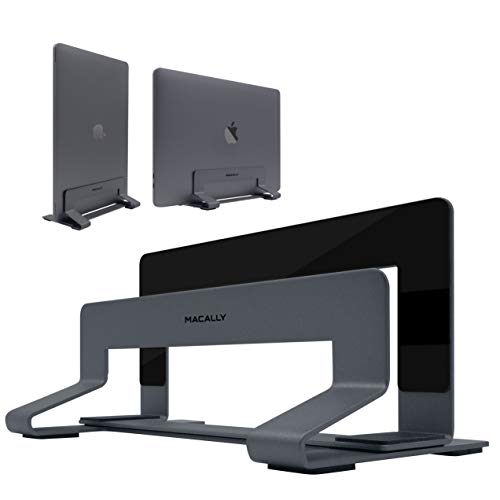 Macally Vertical Laptop Stand for Desk Space | Adjustable Vertical Stand Cradle | Laptop Holder - Apple MacBook Pro Air/Asus Chromebook Flip Samsung Notebook 9 Lenovo ThinkPad Dell XPS Acer Switch