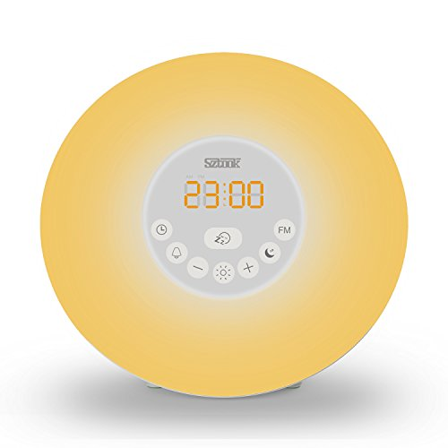 sztook wake up light alarm clock 7 colors light sunrise simulator alarm clock with smart snooze. Black Bedroom Furniture Sets. Home Design Ideas