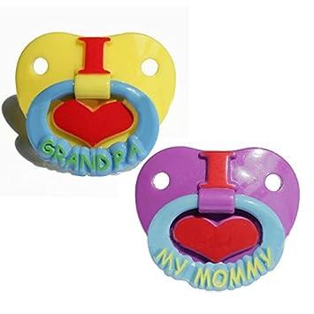 Amazon.com: NUEVO bebé chupete I Love mamá I LOVE GRANDPA: Baby