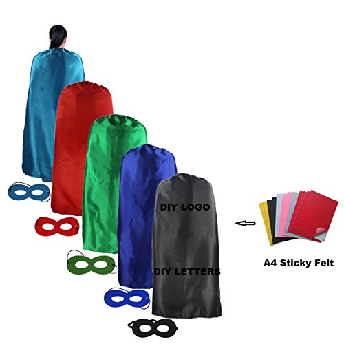 Ranavy Diy Superhero Capes Adult Bulk -Party Superhero Costumes Set of 5 Unisex (mixte 2)