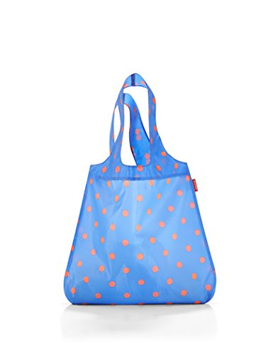 - reisenthel Mini Maxi Shopper, Foldable Reusable Shopping Tote with Elastic Band, 17L x 2-3/4W x 23-1/2H inches, Azure Dots