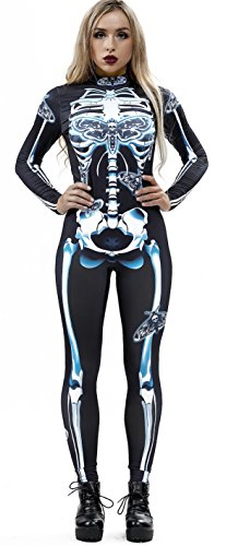 JomeDesign Womens 3D Skeleton Halloween Costumes Cosplay Jumpsuit Bodysuit White Skull Large