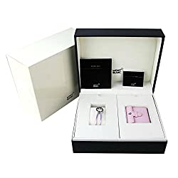 MONTBLANC SET BOHEME PINK LEATHER ALARM CLOCK WATCH SWISS BRACELET 10576 NEW BOX. PERFECT GIFT!