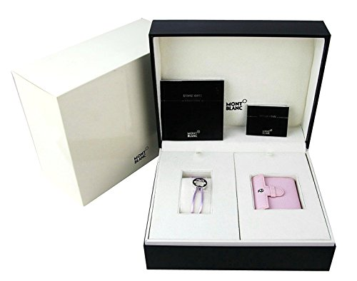 MONTBLANC SET BOHEME PINK LEATHER ALARM CLOCK WATCH SWISS BRACELET 10576 NEW BOX. PERFECT - Watch Swiss Jewel