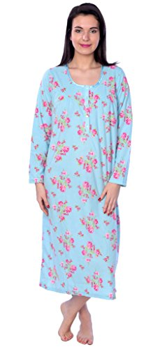 Women's warm soft fleece Floral Print Long Sleeve Nightgown X9185 Aqua 1X (Sleeve Long Nightgowns Shop)