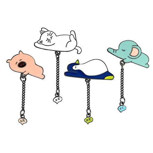 (Cute Enamel Lapel Pins Sets Cartoon Animal Plant Fruits Foods Brooches Pin Badges for Clothing Bags Backpacks Jackets Hat DIY (Pig cat penguin elephant Set of 4))