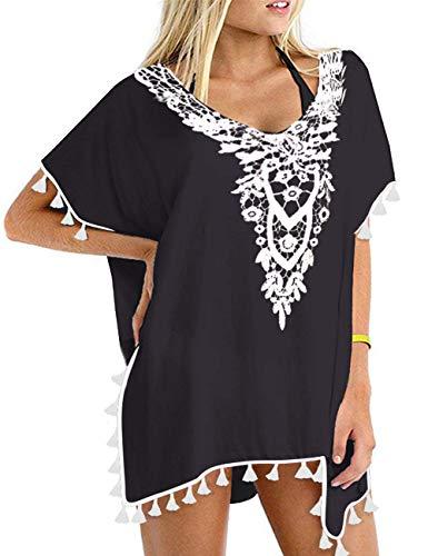 (CPOKRTWSO Women's Chiffon Tassel Swimsuit Bikini Stylish Beach Cover up Black L/XL)