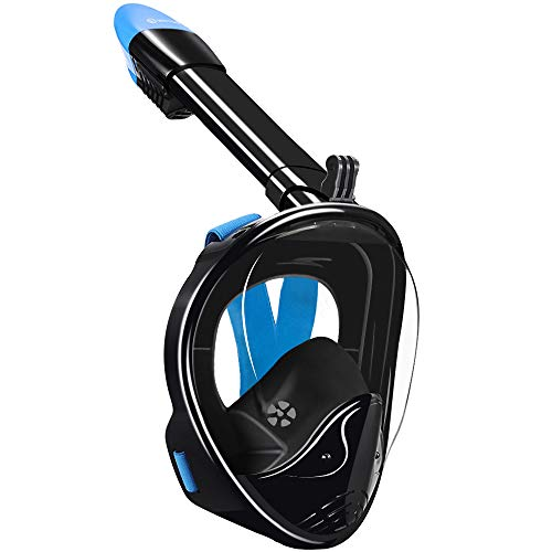 WSTOO Full Face Snorkel Mask,Foldable 180°Panoramic View Snorkel Mask,Anti-Fog Anti-Leak Design with Detachable Camera Mount for Adults & Kids (Black/Blue, L/XL)