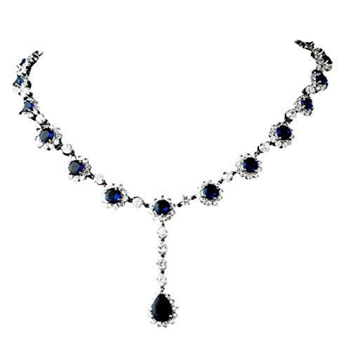 Collier Femme-Fleur Cristal Bleu Royal-Bijoux de mariée