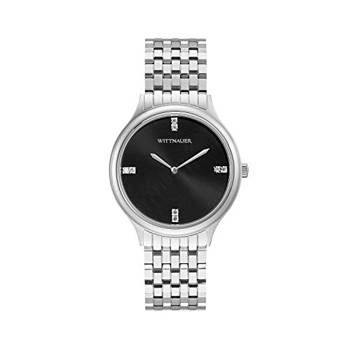 (Wittnauer Women's WN4097 Quartz Diamond Accent Black Dial Silver-Tone 36mm Watch (Renewed) )