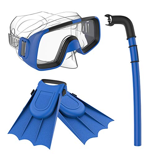Herbalcandybox Children Kids Swimming Diving Snorkel Breathing Tube Fins Scuba Eyeglasses Set,Blue
