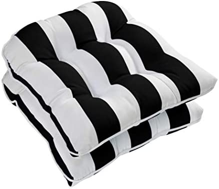 Ornavo Home Water Resistant Indoor Outdoor Patio Decorative Stripe Tufted Wicker Chair Seat Cushion Pad – Set of 2 – Black