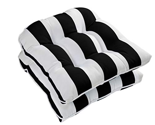 Ornavo Home Water Resistant Indoor/Outdoor Patio Decorative Stripe Tufted Wicker Chair Seat Cushion Pad - Set of 2 - - Striped Cushions Chair