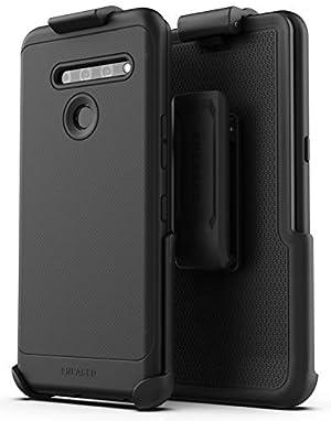 Encased LG V50 ThinQ Belt Clip Case (Thin Armor) Slim Grip Cover with Holster - Black (Color: Black)