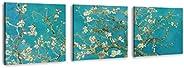 Set de 3 Cuadros decorativos hechos en lienzo canvas artístico, Tríptico Arte Van Gogh Almendro en Flor, Almod