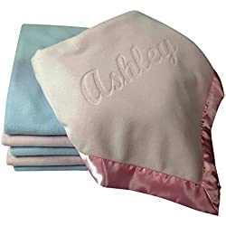 Large Personalized Baby Blanket (Pink) 36x36 Inch, Wide Satin Trim, 200 gsm Fleece