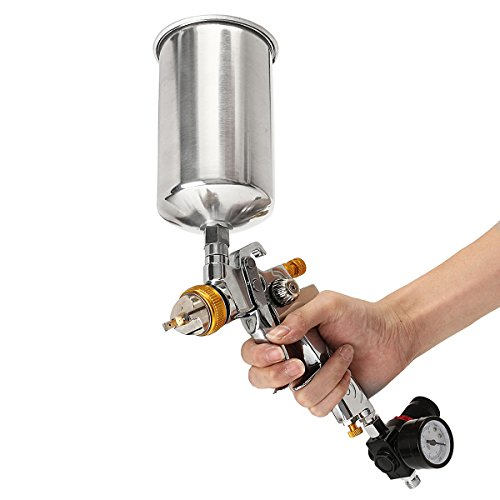 1.4mm 1L HVLP Gravity Feed Spray Gun Auto Paint Base Coat Clearcoat with Air Regulator by SPK603