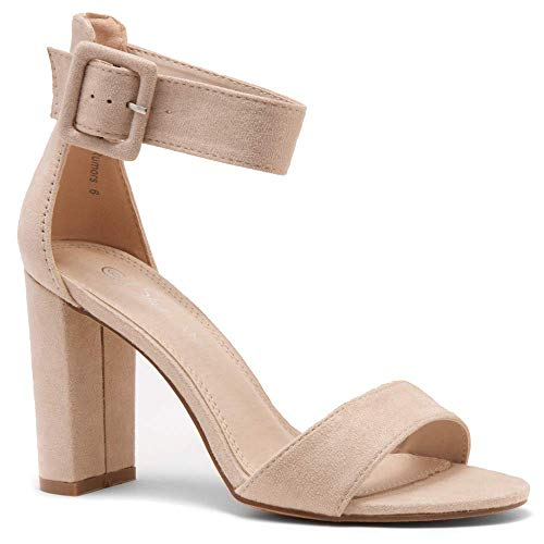 Herstyle Rumors Women's Fashion Chunky Heel Sandal Open Toe Wedding Pumps with Buckle Ankle Strap Evening Party Shoes Nude 5.0 ()
