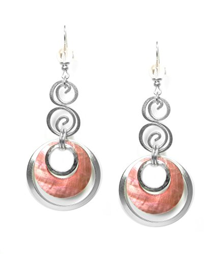 john-michael-richardson-silver-plated-peach-pink-layered-hoop-earrings