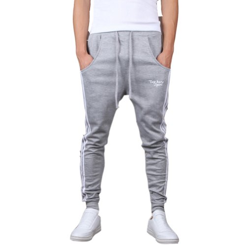 Mooncolour Men's Casual Slim Fit Jogging Harem Pants (Gray  L) Gray Large