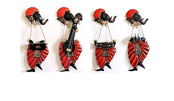 Wrought IronWALL ART SET OF 4 MUSICIAN GANESH IRON WALL HANGINGWALL DECOR