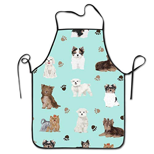 COLOMAKE Chocolate Yorkie Maltese Biewer Terriers Cute Toy Dogs Bib Apron Waterproof Event Party BBQ Cooking Kitchen Aprons for Women Men Adults Chef