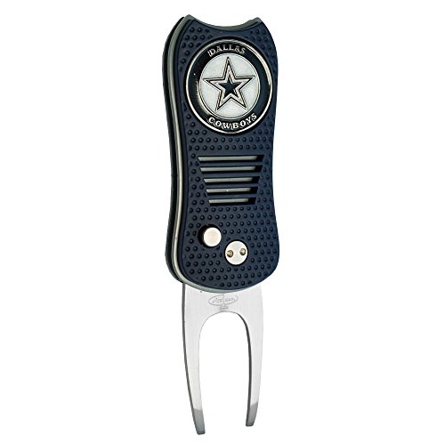 Cowboys Switchfix Divot Tool with Double-Sided Magnetic Ball Marker, Features Patented Single Prong Design, Causes Less Damage to Greens, Switchblade Mechanism ()