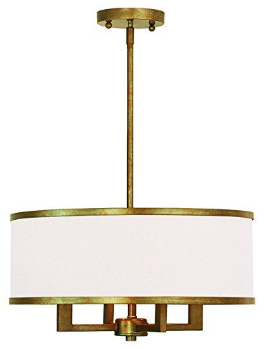Livex Lighting 62613-48 Park Ridge 4 Light Chandelier, Hand Painted Antique Gold - Gold Leaf Transitional