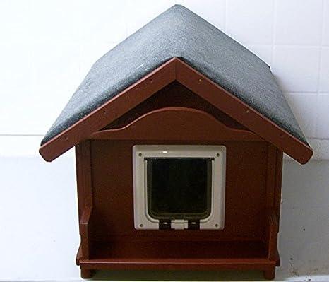 Gato Casa Exterior con gato Tapa suelo aislado: Amazon.es: Productos para mascotas