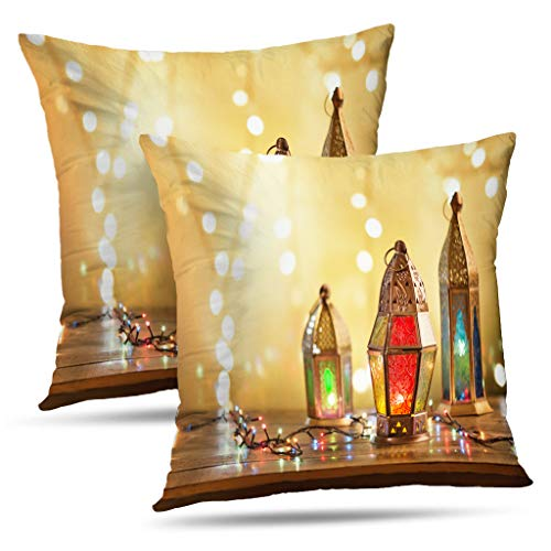 - LALILO Glam Pillow Covers, Various Colorful Decorative Mubarak Light Happy Islam Lamp Double-Sided Pattern Pillowcase for Decoration Sofa Cushion Home Bed 16x16 inch