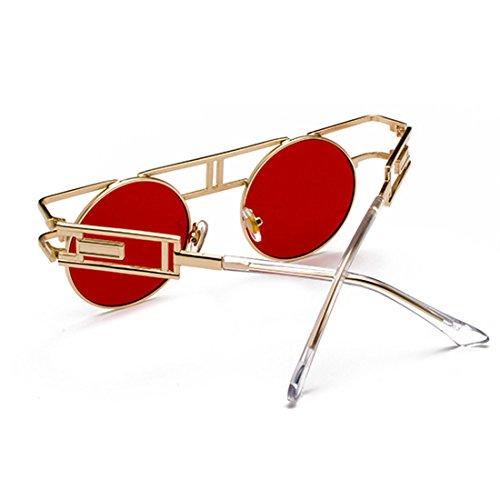 rétro métal de Lentille Océan Cadre Rouge anti en Homme iris Circulaire de MUCHAO femme soleil Lunettes wqvUBx1IA