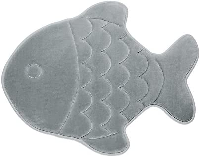 Bath Mats or Shower Mats or Bathroom Rugs Beach Decor Fish Gray