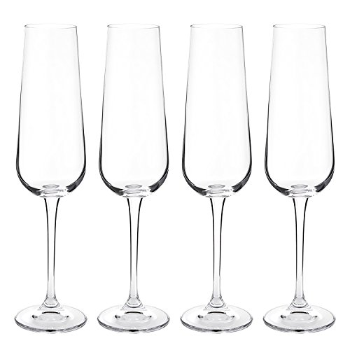 Set of 4 Champagne Flutes - Hand Blown Lead-Free Crystal Glass Imported From The Czech Republic- 220ml (7.5oz.)