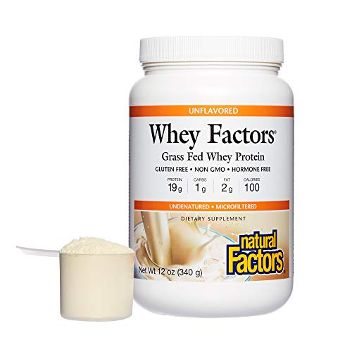 Natural Factors Whey Factors 100% Natural Protein, Unflavored, 12 oz