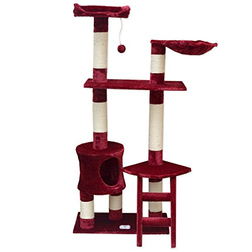 Eyepower Árbol Rascador para Gatos Pia Altura Aprox 142cm | Torre para afilarse Las Garras trepar Jugar Dormir | columnas de sisal Natural para rascar ...
