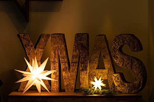3D LED 3er Sternenkette weiß Mini Stern 12cm Batterie Weihnachtsstern Lichterkette für innen von Dekowelt
