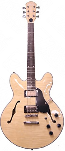 - Oscar Schmidt Delta King Semi Hollow Electric Guitar, 2 Pickups, Natural, OE30FN