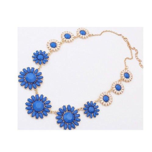 [Sunne Korean Fashion Luxury Festoon Sweet Flower Necklace(Blue)] (Homemade Baby Panda Costume)